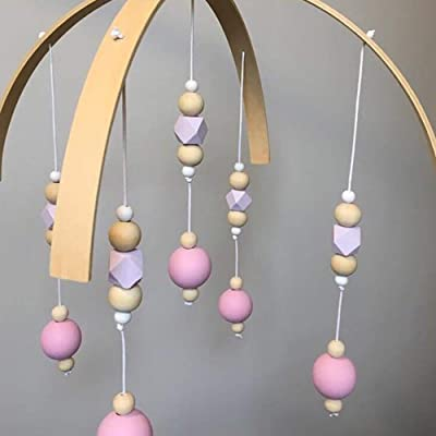 Wooden Wind Chime Bed Bell, Nursery Mobile Crib Bed Bell Baby Bedroom Ceiling Wooden Beads Wind Chime Hanging Ornament : Baby