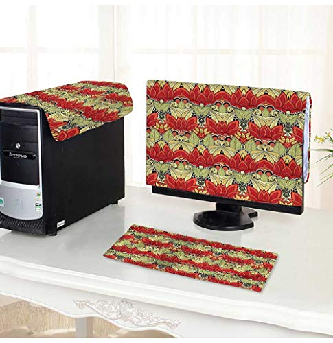 Leighhome Computer Monitor Dust Cover 3 Pieces Asian Batik Blooms Motif in Colors Ornate Nature Inspired Floral Antistatic, Water Resistant /17