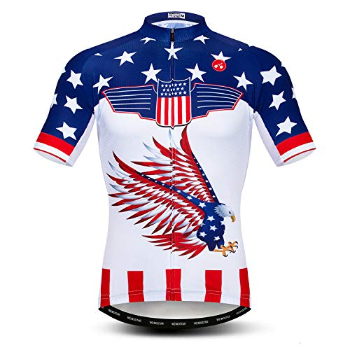 Men's Cycling Jersey Shorts Sleeve Bicycle Clothing Biking Top Bike Shirt USA Flying Eagle Size XXL