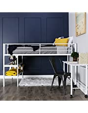 Walker Edison WE Furniture Twin Loft Bed with Desk and Shelves, White
