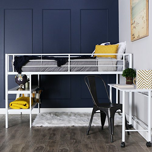 WE Furniture Twin Low Loft Metal Bed, White (Length Saver Space Desk)