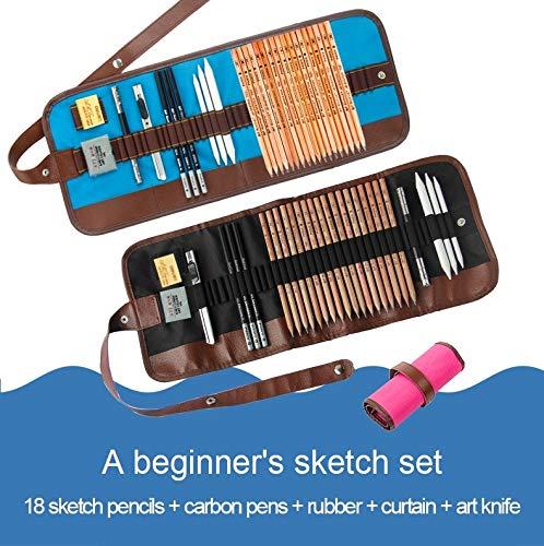 Simple Herramientas para dibujar para principiantes (Lápices de dibujo + Lápiz carbón + Gomas de borrar + Cortina de...