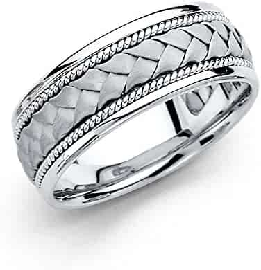 Wellingsale 14k White Gold Polished Satin 8MM Handmade Braided Rope Comfort Fit Wedding Band Ring