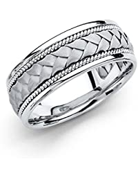 14k White Gold Polished Satin 8MM Handmade Braided Rope Comfort Fit Wedding Band Ring