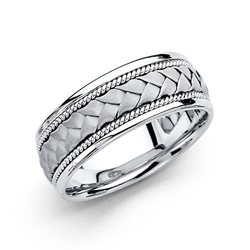 Wellingsale 14k White Gold Polished Satin 8MM Handmade Braided Rope Comfort Fit Wedding Band Ring - size 10.5 White Gold Braided Wedding Band