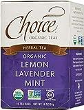 Choice Organic Teas Herbal Tea, 16 Tea Bags, Lemon Lavender Mint, Caffeine Free