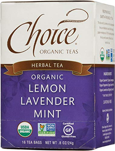 Choice Organic Teas Herbal Tea, 16 Tea Bags, Lemon Lavender Mint, Caffeine Free