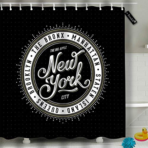 Randell Shower Curtain Set Vintage New York City Brooklyn Manhattan Queens Bronx Staten Island Bathroom Accessories 60