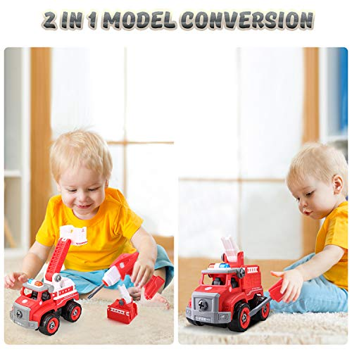 BeebeeRun Take Apart Toys 2 in 1 Fire Truck Toy Sets,Converts to Remote Control Car,Educational Playset with Tools and Power Drill,Kids Stem Building Toy,Gift Toys for 3,4,5,6,7 Year Olds