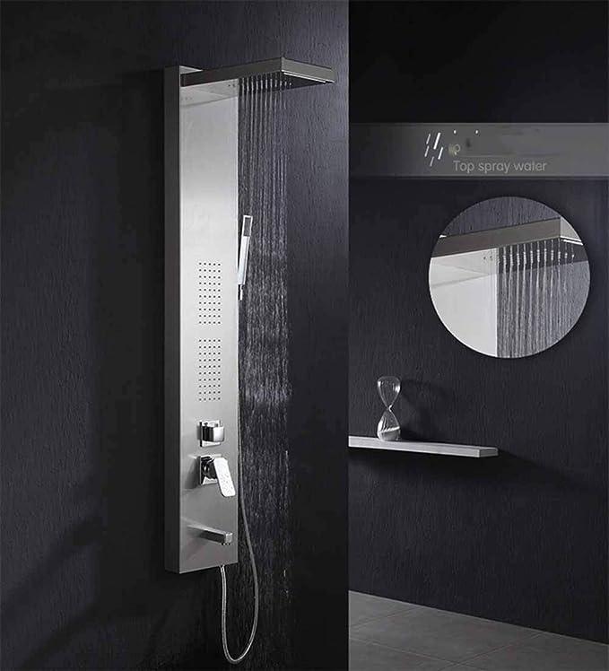 GYY-TAP Juego de Paneles de Ducha, Sistema de Ducha de Agua Caliente y fría, Ducha de Ducha de mampara de Ducha Cuadrada de Acero Inoxidable, decoración de baño portátil: Amazon.es: Hogar
