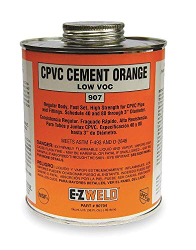 (Ez Weld CPVC Cement, Orange, 32 oz, for CPVC Pipe And Fittings - 20704, (Pack of 2))