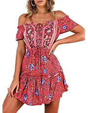 ZESICA Women's Summer Floral Printed Off The Shoulder Elastic Waist Irregular Hem Beach Mini Dress