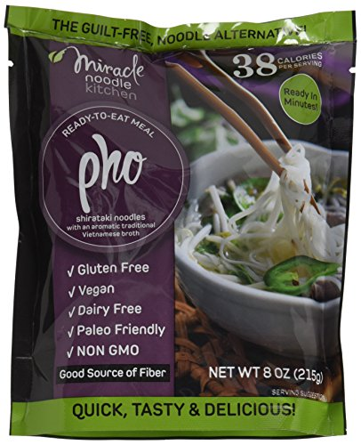 Noodle Crystal (Miracle Noodle Gluten Free Ready to Eat Meals, Vegan Pho, 6 Count)