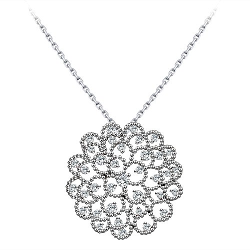 White Zircon Necklace - 18k White Gold Pendant Necklace Zircon Diamond Ocean Star Design By CONNIE.Y