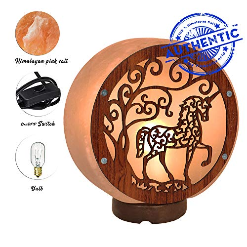 - Unique Himalayan Real Unicorn Lamp - Genuine Wood Base with On and Off Switch/Dimmer - 5-7 Lbs - Bulb with 6-8 Inches UL Electric Corded (Unicorn Lamp)