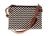 Fancier Unisex Casual Wave Designer PU Mini Crossbody Bag Shoulder Handbags Brown and Black