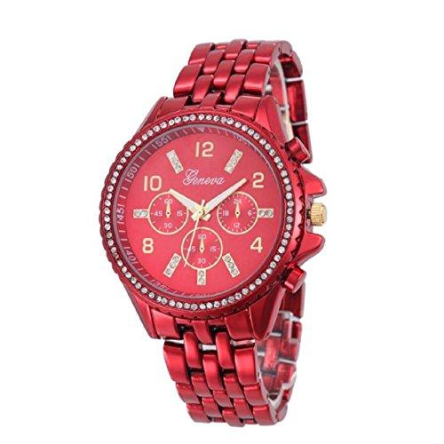 Geneva Lookatool Fashion Classic Luxury Stainless Steel Quartz Analog Wrist Watch (! Red)