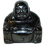 Hämatit Buddha aus echtem Edelstein Happy Buddha sitzend, lachender Buddha