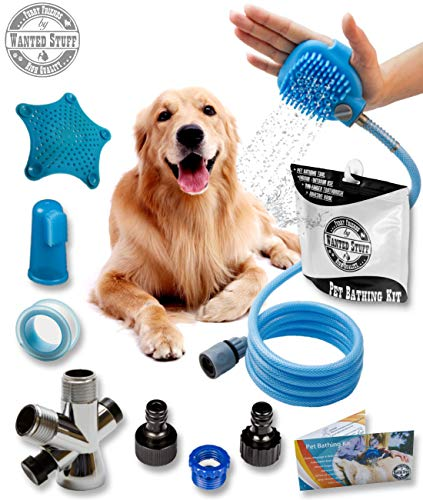 wantedstuff Pet Bathing Tool | Pet Shower Sprayer – Pet Scrubber and Dog Shower Sprayer Attachment Set for Pet Bathing…