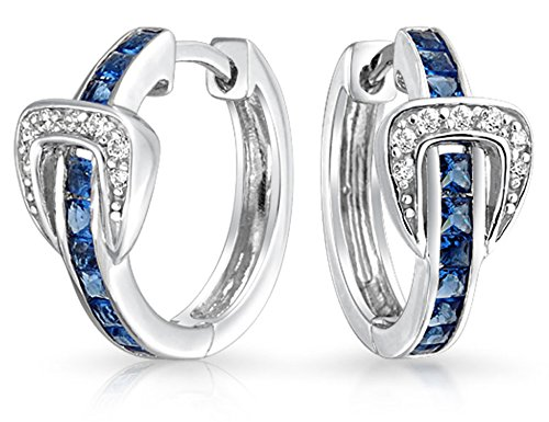 Channel Set Cubic Zirconia Blue White CZ Round Belt Buckle Huggie Hoop Earrings For Women 925 Sterling Silver .75 Inch