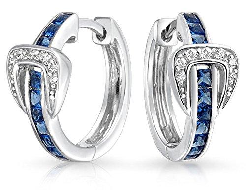 Channel Set Cubic Zirconia Blue White CZ Round Belt Buckle Huggie Hoop Earrings For Women 925 Sterling Silver .75 Inch ()