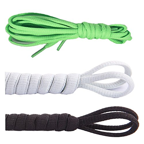 [3 Pairs]Oval Shoelaces,CaseHQ Flat Braided Shoe Laces Half Round 1/4