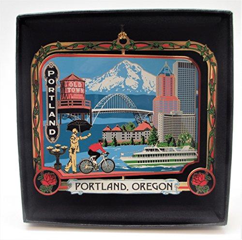 Portland Oregon Brass Ornament Black Leatherette Gift Box (Christmas Oregon Ships Portland)