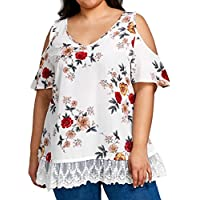GONKOMA Women Plus Size Short Sleeve T-Shirt Casual V-Neck Blouse Tops Loose Tunic Shirt Tees