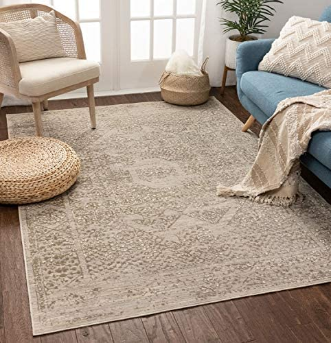 Well Woven Tabitha Vintage Beige Grey Distressed Oriental Medallion Area Rug 5×7 5'3″ x 7'3″