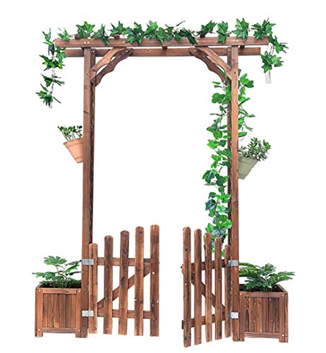 JANRON Gardening Garden Arch Wooden Arbour Pergola Feature Trellis Rose Archway Natural Tan Wood Timber Impregnated Wood Outdoor Patio Climbing Plan - 172X41X220cm (67.7X16X86.6INCH)