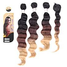 Creamily(TM) #1B/6/27 Ombre Hair Extensions Weft Weave 14'' 16'' 18'' & Top Closures Hair Piece 14'' Loose Wave Three-tone Color 210g / 3 Bundles / Set (Natural Black To Medium Brown To Caramel Blonde)