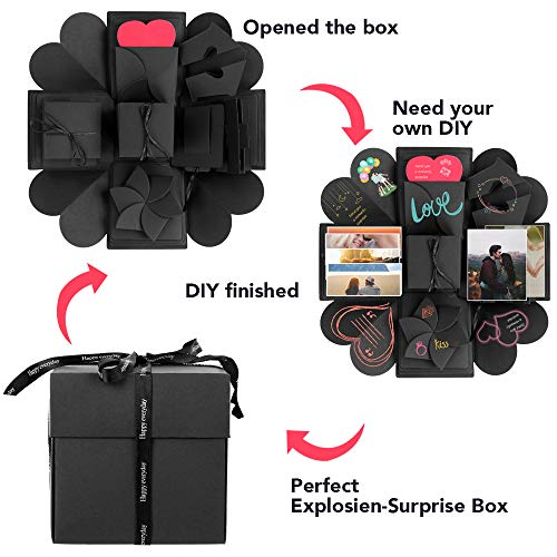 Aorange Explosion Box, Surprise Explosion Box for Birthday, DIY Handmade Photo Album Exploding Box for Anniversary, Creative Explosion Gift Box for Wedding or Valentine's Day -