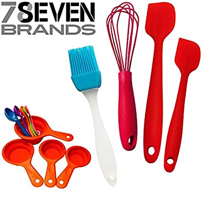 78Seven Silicone Bakeware Measuring Spoons and Cups Baking Set Bundle with 9-Piece Measuring Cup Set and Measuring Spoons, 10-Inch Whisk, 2 Spatulas and Basting Brush