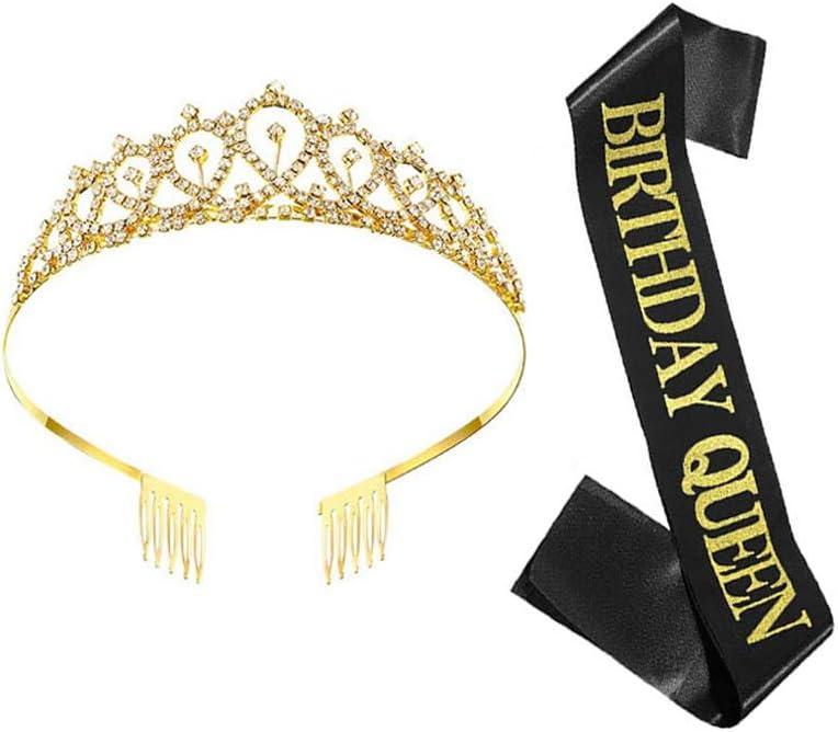 Black Glitter with Gold Lettering Birthday Queen Sash /& Rhinestone Tiara Kit,21st 30th Birthday Gifts Birthday Sash Birthday Tiara for Women Birthday Party Supplies