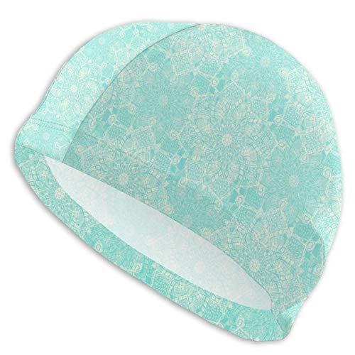 Cream Doodle Medallions On Tiffany Blue Swim Cap Bathing Cap Hats Swimming Pool for Men ()