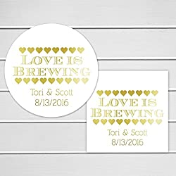 Foiled Thank You Stickers,Love Is Brewing Wedding Favor Stickers with Real Foil (#205-F)