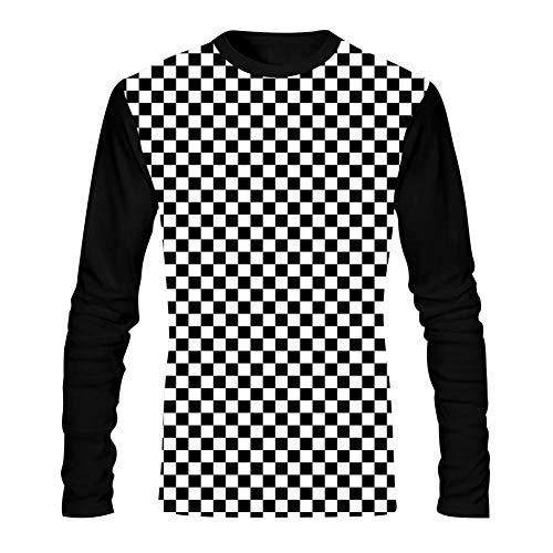 (AolaZW Men's Black & White Racing Checkered Flag 3D Long Sleeve T-Shirt M)
