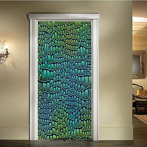 baihemiya 3D Door Mural Wallpaper Stickers,Alligator-Skin-African-Animal-Crocodile-Reptile-Safari-Wildlife-Vibrant-Artwork,W30.3xL78.7inch,Self-Adhesive Wall Door Stickers DecorGreen-Blue