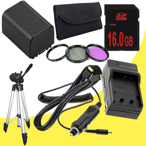 NP-FV100 Lithium Ion Replacement Battery w/Charger + 16GB SDHC Memory Card + Mini HDMI + Tripod + 3 Piece Filter Kit for Sony NEXVG10, NEXVG20 Interchangeable Lens HD Handycam Camcorder DavisMAX Accessory Bundle