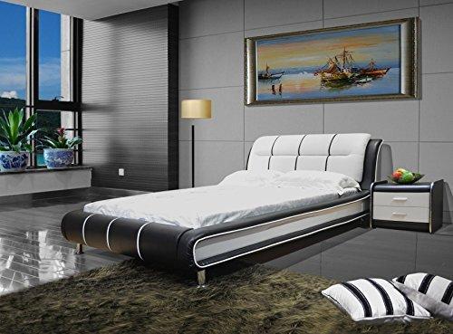 GREATIME B1190 Modern Vinyl Platform Bed (Eastern King, Black&White)