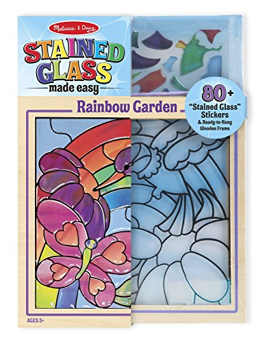 Melissa & Doug Stained Glass See-Through Window Art Kit: Rainbow Garden - 80+ Stickers, Frame ()