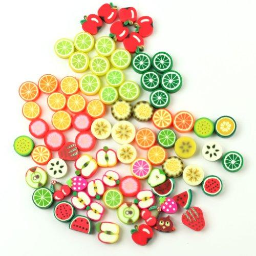 lecimo 100PCS Various Beautiful Fimo Polymer Clay DIY Handmade Fruit Beads (Fimo Clay Handmade)