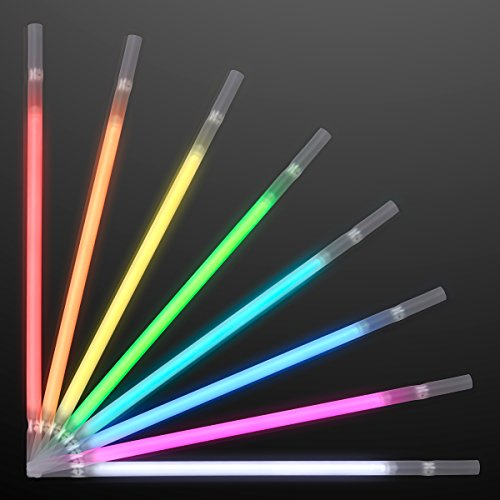 FlashingBlinkyLights Assorted Color Glow Stick Drinking Straws (Set of -