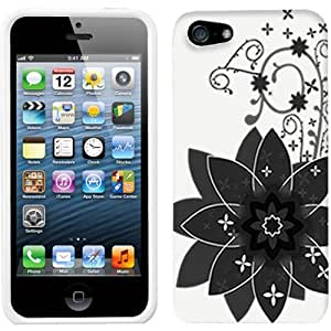 Apple iPhone 5 Big Black Flower on White Hard Case Phone Cover