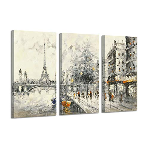 (Abstract Artwork City Scenery Picture: Eiffel Tower Park Silver Foil Art Print on Canvas for Wall)