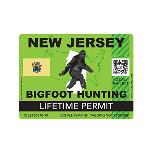 fagraphix New Jersey Bigfoot Hunting Permit Sticker Die Cut Decal Sasquatch Lifetime FA Vinyl - 4.00 Wide