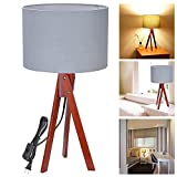 22 Inches Nut Color Tripod Bedside Table Floor Lamp Gray Linen Shade Incandescent Style w/ Wooden Floor Stand for Beautifully Decorate Lighting Home