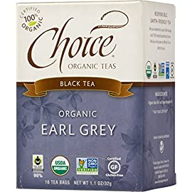 Choice Organic Teas Black Tea, 6 Boxes of 16 (96 Tea Bags), Earl Grey 56 Contains 6 boxes of 16 tea bags each (96 tea bags total) A classic blend of black teas and citrus from Italian bergamot Certified Organic, Fair Trade Certified, Non-GMO Project Verified, Gluten Free, Kosher, Made in the USA