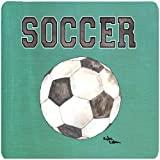 Caroline's Treasures 8484FC Soccer Foam Coasters (Set of 4), 3.5'' H x 3.5'' W, Multicolor