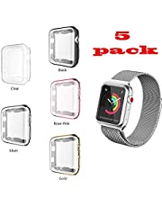 KTcos For Apple Watch Case, TPU Screen Protector All-around Protective Case High Defination Clear Ultra-Thin Cover for Apple Watch Series 3 and Series 2 (38MM, Black)
